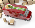 Delivery van, free shipping Royalty Free Stock Photo