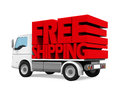 Delivery Van with Free Shipping Text Royalty Free Stock Photo