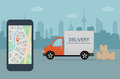 Delivery van and mobile phone with map on city background.
