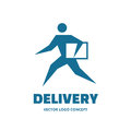 Delivery - vector logo template concept. Running man. People sign. Human character illustration. Design element