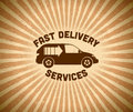 Delivery vintage label with car Royalty Free Stock Photo
