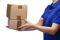 Delivery woman delivering parcels photography bust a Royalty Free Stock Photography