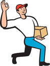 Delivery worker deliver package cartoon illustration of a delivering parcel carton showing okay hand sign on isolated white Stock Photo