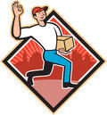 Delivery worker deliver package cartoon illustration of a delivering parcel carton showing okay hand sign set inside diamond shape Royalty Free Stock Images