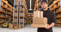Deliveryman at warehouse h carrying a parcel in a distribution Stock Photography