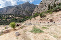 Delphi greece the ruins of the temples and the mountains in Royalty Free Stock Photos