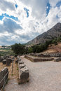 Delphi greece the ruins of the temples and the mountains in Stock Photo