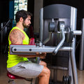 Deltoids fly machine man for shoulders workout Royalty Free Stock Photo