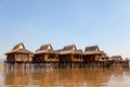 Deluxe hotel on inle lake myanmar situated the waters of inlelake with captivating view of the beautiful where water and mountains Stock Image
