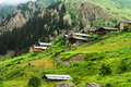 Demirkapi plateau old traditional mountain houses in kackar mountains trabzon turkey Royalty Free Stock Photography
