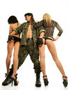 Demobilized man with two sexy women Royalty Free Stock Image