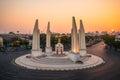 Democracy Monument at dusk