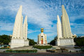 The democracy monument located on ratchadamnoen road central bangkok moderately cloudy skies Stock Images