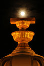 Democracy monument and the moon Stock Image