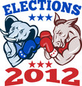 Democrat Donkey Republican Elephant Mascot 2012 Stock Photography