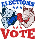 Democrat Donkey Republican Elephant Mascot Royalty Free Stock Image
