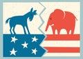 Democrat donkey versus republican elephant Royalty Free Stock Photo