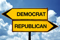 Democrat or republican opposite signs two blank against blue sky background Stock Photo