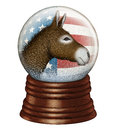 Democrat snow globe digital illustration of a containing stars and stripes and a donkey to represent the party Stock Photo