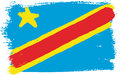 Democratic Republic of the Congo Flag Vector Hand Painted with Rounded Brush