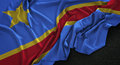 Democratic Republic of the Congo Flag Wrinkled On Dark Backgroun