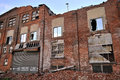 Demolished building old falling down industrial brick Stock Image