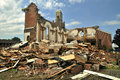 Demolished church catholic with cross and steeple standing Royalty Free Stock Image
