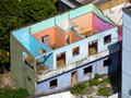 Demolished house with colored walls brazil Royalty Free Stock Image
