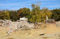 Demolition area near the forest in debrecen hungary Royalty Free Stock Image