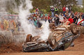 Demolition derby car overturn roof Royalty Free Stock Images