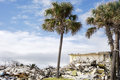 Demolition and development of a beachfront hotel in miami beach paves the way for new construction the debris is piled up for Royalty Free Stock Images