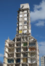 Demolition of highrise flats image half demolished Royalty Free Stock Photo
