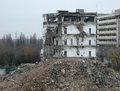 Demolition a of an old building in bucharest Royalty Free Stock Photography