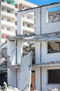 Demolition of panel pitted facade highrise Royalty Free Stock Photo