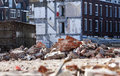 Demolition of residential district crooswijk in rotterdam the netherlands there's some of rubble around a builders skip it looks Royalty Free Stock Image