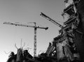 Demolition site with cranes Royalty Free Stock Photo