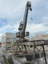 Demolition site a large old waterfront crane on a in switzerland Stock Image