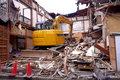 Demolition of a small building in a japanese town Royalty Free Stock Image