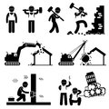 Demolition worker demolish building icon cliparts a set of human pictogram representing smashing wall with hammer destroying house Royalty Free Stock Photo