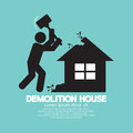 Demolition worker smashing house with hammer vector illustration Stock Photos