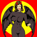 Demon girl comic book style illustrated Stock Images
