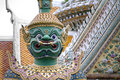 Demon statue at Buddhist temple in Bangkok Royalty Free Stock Photos