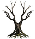 Demon tree d illustration of a dead gnarled with the face of a screaming on the trunk Stock Images