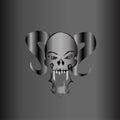 Demonic Skull Silver Matte