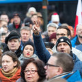 The demonstration of the committee of the defence of the democracy kod for free media wolne media cracow poland january and Stock Photos