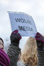 The demonstration of the committee of the defence of the democracy kod for free media wolne media cracow poland january and Stock Images