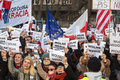 The demonstration of the committee of the defence of the democracy kod for free media wolne media cracow poland january and Royalty Free Stock Image