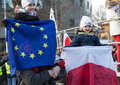 The demonstration of the committee of the defence of the democracy kod for free media wolne media cracow poland january and Royalty Free Stock Images