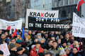 The demonstration of the committee of the defence of the democracy kod for free media wolne media and democracy against pis g Stock Image