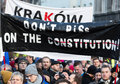 The demonstration of the committee of the defence of the democracy kod for free media wolne media and democracy against pis g Royalty Free Stock Photo